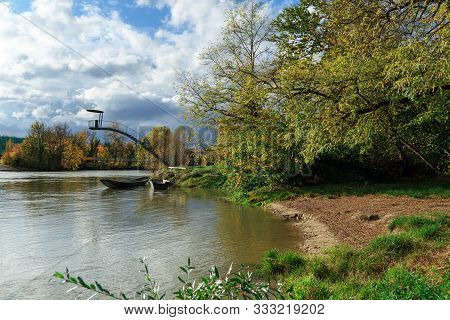 City Park On The Banks Of Aare River In The Autumn. Town Of Brugg, Swiss Canton Of Aargau, Switzerla