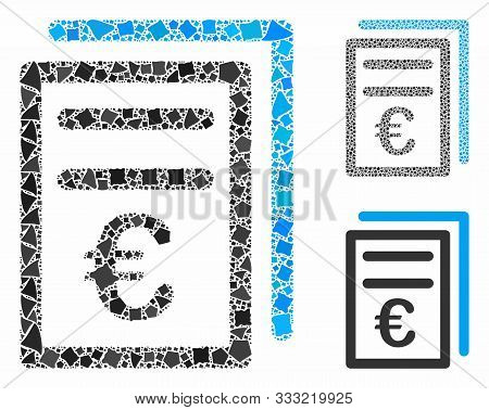 Euro Invoices Mosaic Of Humpy Items In Variable Sizes And Color Hues, Based On Euro Invoices Icon. V