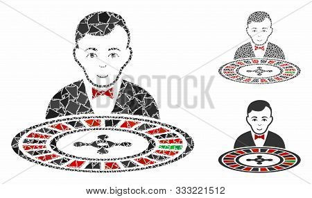Roulette Dealer Mosaic Of Unequal Pieces In Different Sizes And Color Tinges, Based On Roulette Deal