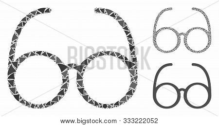 Spectacles Mosaic Of Raggy Parts In Various Sizes And Color Tinges, Based On Spectacles Icon. Vector