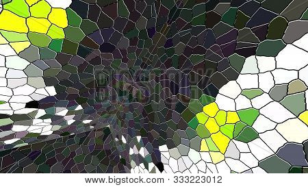 Computer Generated Mosaic Background. 3d Rendering Of An Enclosed Space With Multicolored Mosaic Wal