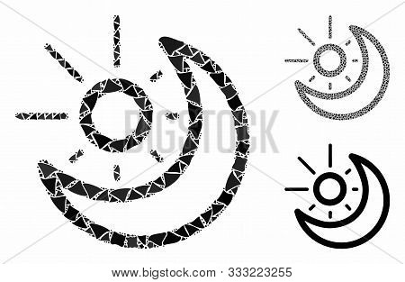 Day-night Mosaic Of Ragged Parts In Different Sizes And Shades, Based On Day-night Icon. Vector Roug