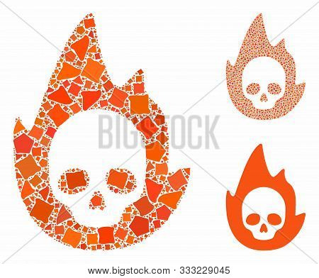 Mortal Flame Mosaic Of Uneven Parts In Various Sizes And Color Tones, Based On Mortal Flame Icon. Ve