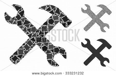 Wrench And Hammer Tools Composition Of Trembly Elements In Various Sizes And Color Hues, Based On Wr