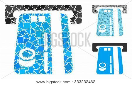Bank Atm Mosaic Of Abrupt Parts In Various Sizes And Shades, Based On Bank Atm Icon. Vector Abrupt P
