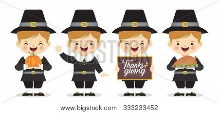 Set Of Cartoon Cute Pilgrim Boy With Pumpkin, Roasted Turkey & Thanksgiving Sign Isolated On White B