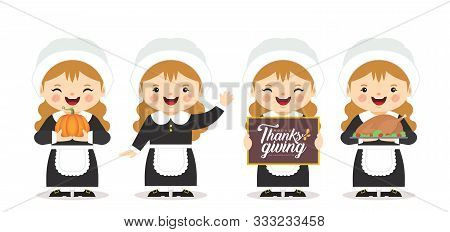 Set Of Cartoon Cute Pilgrim Girl With Pumpkin, Roasted Turkey & Thanksgiving Sign Isolated On White