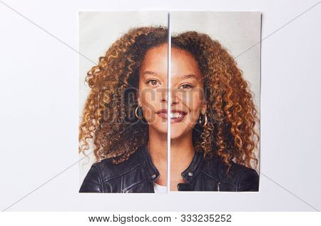 Mental Health Concept With Picture Of Woman Split Into Two Halves With Happy And Sad Expressions