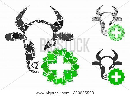 Cow Create Mosaic Of Raggy Parts In Various Sizes And Color Tones, Based On Cow Create Icon. Vector