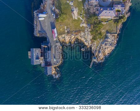 Aerial View Of Historic Paint Factory In Gloucester Harbor, Cape Ann, Massachusetts, Usa.