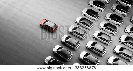 Small city cars fleet. A red car in front. Choosing new car concept. 3D illustration