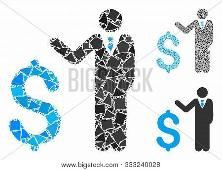 Banker Mosaic Of Ragged Elements In Variable Sizes And Shades, Based On Banker Icon. Vector Tremulan