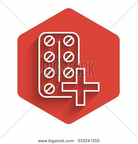 White line Pills in blister pack icon isolated with long shadow. Medical drug package for tablet vitamin, antibiotic, aspirin. Red hexagon button. Vector Illustration poster