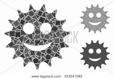 Cog Smile Mosaic Of Inequal Parts In Variable Sizes And Color Tints, Based On Cog Smile Icon. Vector