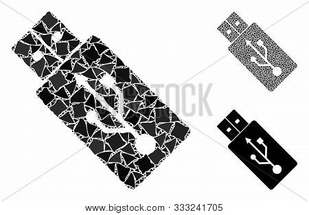 Usb Drive Mosaic Of Inequal Items In Various Sizes And Color Hues, Based On Usb Drive Icon. Vector T