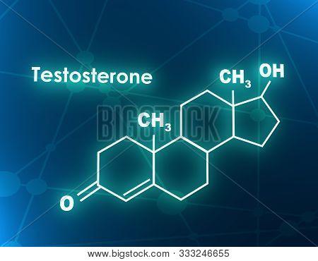 Chemical Molecular Formula Hormone Testosterone. Infographics Illustration. 3d Rendering