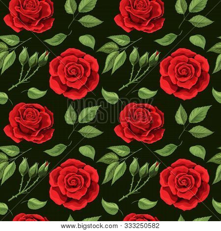 Red Roses Embroidery Seamless Pattern. Beautiful Buds Of Red Roses On Black