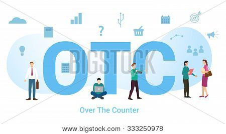 Otc Over The Counter Concept With Big Word Or Text And Team People With Modern Flat Style - Vector