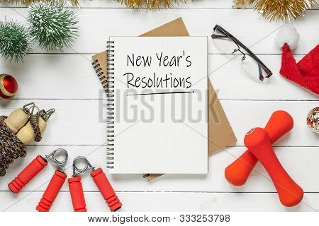 New Year Resolutions Or Goals For Healthy Lifestyle, Lose Weight And Join Gym. New Year's Resolution
