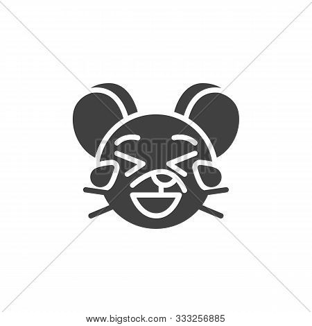 Laughing Rat Emoticon Vector Icon. Filled Flat Sign For Mobile Concept And Web Design. Tear Laugh Mo