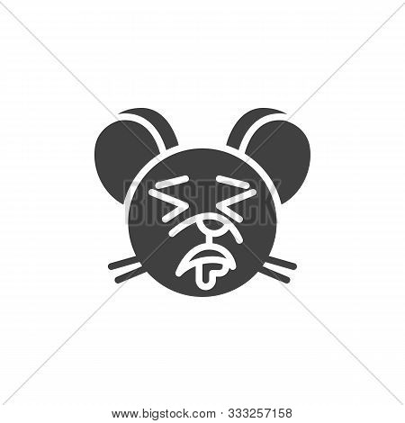 Drooling Rat Emoticon Vector Icon. Filled Flat Sign For Mobile Concept And Web Design. Sleeping Mous