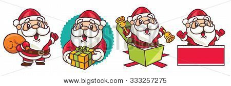 Merry Christmas. Cartoon Christmas Santa Claus Set. Santa Claus With Christmas Present And Bag - Vec