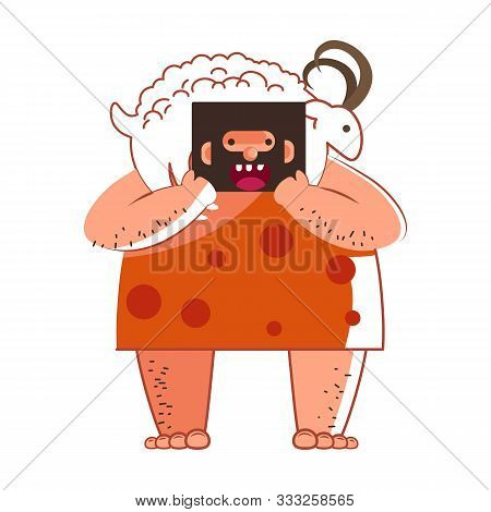 Primitive Man Or Caveman Hunter With Goat Or Sheep Isolated Character
