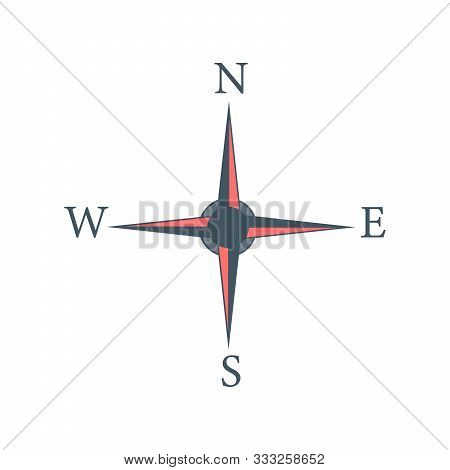 Four Cardinal Directions, Or Cardinal Points. Compass Rose With North, South, East And West Indicate