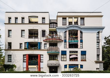 Berlin, Germany - July 28, 2019: Postmodern Style Residential Building In Berlin Mitte