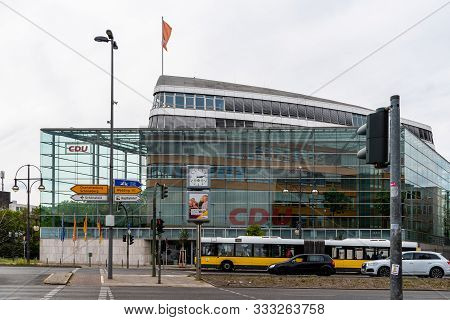 Berlin, Germany - July 28, 2019: Cdu Offices In Berlin. Modern Offices Of The Ruling Political Party
