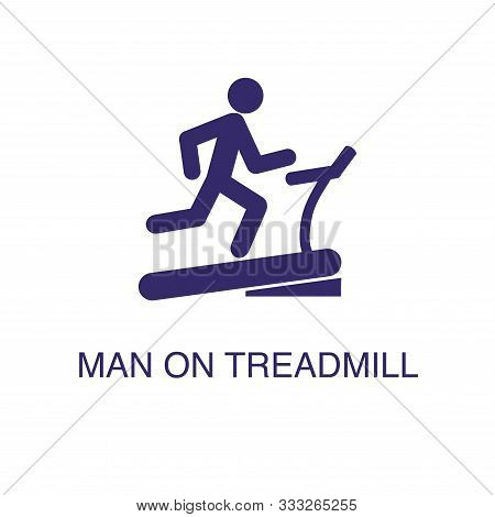 Man On Treadmill Element In Flat Simple Style On White Background. Man On Treadmill Icon, With Text