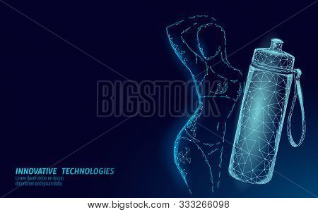 Water Aqua Bottle Athletic Woman Rehydration Concept. Health Care Against Dehydration Isotonic Elect