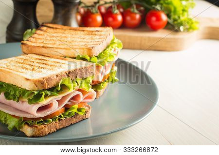 Close-up Of Two Sandwiches With Bacon, Salami, Prosciutto And Fresh Vegetables On Rustic Wooden Cutt