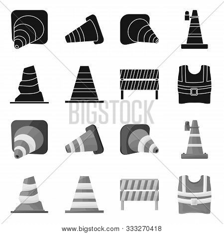 Isolated Object Of Obstacle And Transportation Sign. Collection Of Obstacle And Equipment Vector Ico