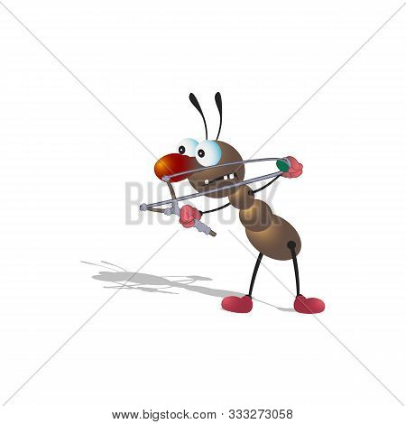 A Little Cartoony Brown Ant Armed With A Slingshot Aims And Prepares To Shoot. Isolated On A White B