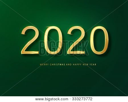 2020 Happy New Year Greeting Card Gold And Green Background. Green New Year Background. Cover Of Bus