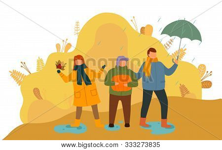 Children Spending Time Outdoors Vector. Boys And Girl Playing With Dry Leaves, Kids Holding Umbrella