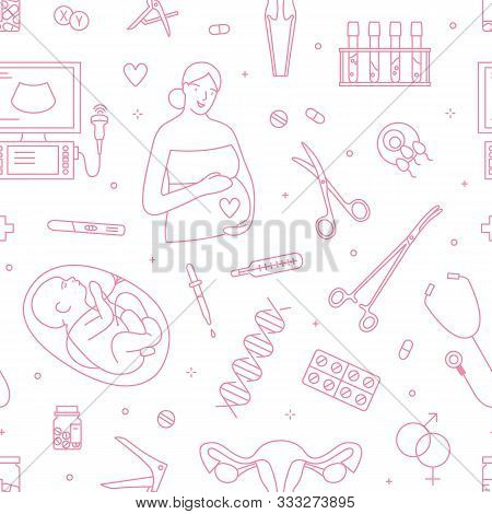 Gynecology And Pregnancy Linear Vector Seamless Pattern. Obstetrics And Childbirth Decorative Outlin