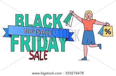 Black Friday Sale Vector, Isolated Banner With Stripe. Seasonal Promotion At Shops And Stores. Femal