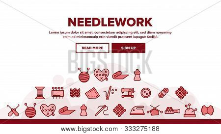 Needlework Landing Web Page Header Banner Template Vector. Pin And Button, Needle And Spool, Meter A