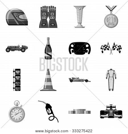 Isolated Object Of Car And Rally Symbol. Set Of Car And Race Stock Symbol For Web.