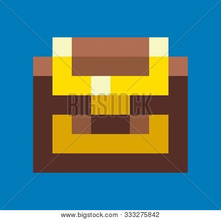 Pixel Game Graphics Element Vector, Isolated Icon Of Wooden Casket With Wealth, Locked Container Wit