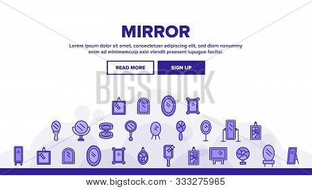 Mirror Different Form Landing Web Page Header Banner Template Vector. Broken And New, Ancient And Mo