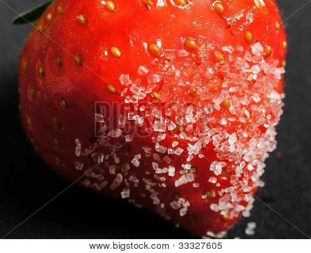 Strawberry dipped in sugar