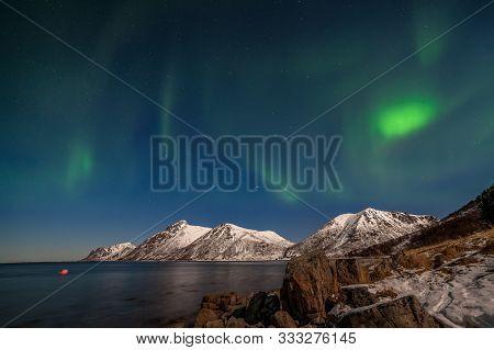 Beautiful Aurora Borealis, Polar Lights, Over Mountains In The North Of Europe - Lofoten Islands, No