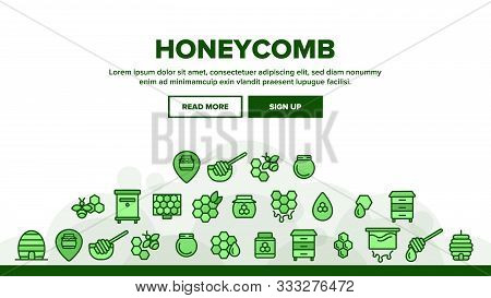 Honeycomb Landing Web Page Header Banner Template Vector. Bee Swarm, Beekeeper And Sweets, Nectar An