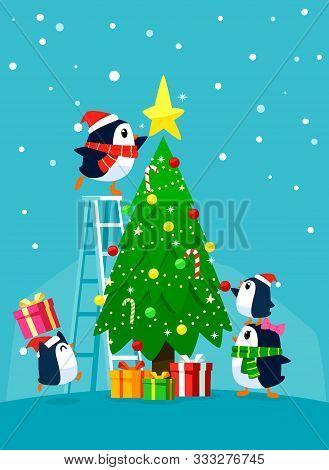 Penguin Family Decorating Christmas Tree. Christmas Cartoon Illustration.