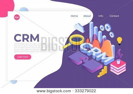 Crm - Customer Relationship Management Isometric Concept. Vector Illustration