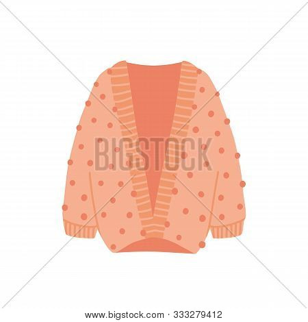Knitted Cardigan Flat Vector Illustration. Cozy Warm Clothes Isolated On White Background. Stylish A