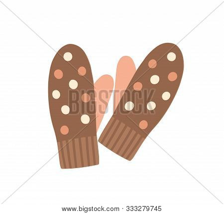 Warm Mittens Flat Vector Illustration. Knitted Clothing For Hands, Traditional Winter Season Knitwea